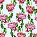 Watercolor peony flowers seamless pattern on blue background. Floral texture for design, textile and background. Botanical illustr