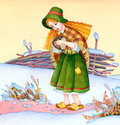 Watercolor picture medieval poor girl on winter field stylized fairy tale in green patched skirt and hat with checkered shawl in Stock Images