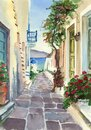 Watercolor picture of a greek street Royalty Free Stock Photo