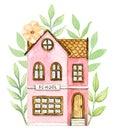 Watercolor pink cartoon school building in flowers Royalty Free Stock Photo