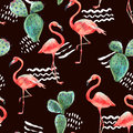Watercolor pink flamingo and tropical flowers seamless pattern