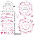 Watercolor pink floral brushes and wreath set template Royalty Free Stock Photo
