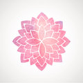 Watercolor pink flower pattern silhouette of lotus mandala indian oriental circled element for design on white background vector Royalty Free Stock Image
