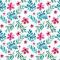 Watercolor Pink Flowers, Green And Blue Leaves Seamless Pattern Royalty Free Stock Photo