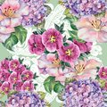 Watercolor pink flowers. Seamless pattern for design on a lime green background.