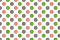 Watercolor pink, green and grey polka dot background. Royalty Free Stock Photo