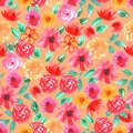 Watercolor pink red flowers roses peonies peony Seamless pattern on Orange background. simple ornament, fashion print and trend of