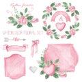 Watercolor pink roses bouquet ,ribbons,decor set