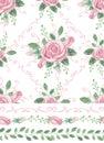 Watercolor pink roses bouquet seamles pattern,borders,swirls