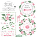 Watercolor pink roses decor brushes and wreath template