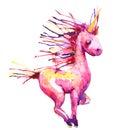 Watercolor pink unicorn illustration