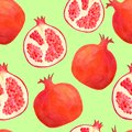 Watercolor pomegranate seamless pattern. Hand drawn red fruit illustration background isolated on pastel green for food package