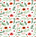 Watercolor Poppies, Little Red Flowers And Leaves Repeat Pattern