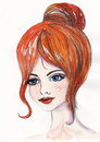 Watercolor portrait of a beautiful young girl with red hair and blue eyes Stock Photos