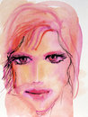 Watercolor Portrait in Pink Royalty Free Stock Images