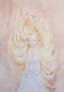 Watercolor portrait of pregnant woman with embryo baby in belly Royalty Free Stock Photo