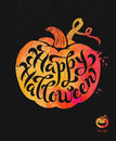 Watercolor pumpkin with brush calligraphy. Happy Halloween theme. Vector Illustration.