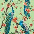 Watercolor raster peacock pattern Royalty Free Stock Photo