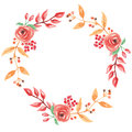 Watercolor Red Autumn Wreath Garland Frame Fall Leaves Circle Flowers Berry Leaf