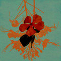 Watercolor red flower on blue washed paper Royalty Free Stock Photo