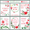 Watercolor Red Flowers Card Se...