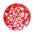 Watercolor red gemstone in the round shape isolated