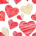 Watercolor red and golden hearts seamless pattern love wedding valentine day