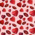 Watercolor red heart and lips background wedding romance