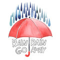 Watercolor red umbrella under rain stylized blue grey drops lettering with words go away original Stock Image