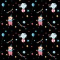 Watercolor retro Circus seamless pattern. Hand drawn vintage background with carnival objects: air balloons, clown, rabbit in the