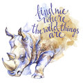 Watercolor rhinoceros with handwritten inspiration phrase. African animal. Wildlife art illustration. Can be printed on