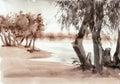 Watercolor Riverscape
