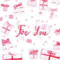 Watercolor romantic background with gifts