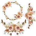 Watercolor sepia flowers wreath and bouquets