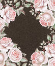 Watercolor roses on dark brown background. Floral frame Royalty Free Stock Photo