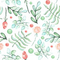Watercolor Roses, Ferns And Spots Seamless Pattern