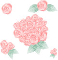 Pink Hand Painted Watercolor Roses Royalty Free Stock Photo