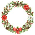 Watercolor round frame with berries, flowers, cones, bow and spruce branches