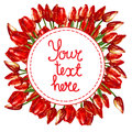 WATERCOLOR round wreath border frame WITH PAINTED RED TULIPS
