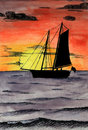 Watercolor sailboat on ocean sunset Stock Photos