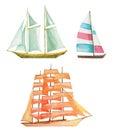 Watercolor sailboats set