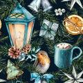 Watercolor scandinavian pattern of Christmas. Hand painted lantern, bells, robin, cookies, orange slice, cacao cup