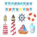 Watercolor sea nautical elements set