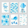 Watercolor sea set in blue and white colors. Collection of cards template