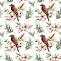 Watercolor seamless big patttern with bird and cotton. Hand painted floral illustration with white flower, snowberries