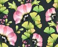 Watercolor seamless floral pattern. Abstract tulip flowers, gingko leaves on dark grey background. Isolated hand drawn Royalty Free Stock Photo