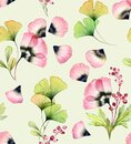 Watercolor seamless floral pattern. Abstract tulip flowers, gingko leaves and petals. Hand drawn illustration on beige Royalty Free Stock Photo