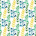 Watercolor seamless floral pattern with colorful leaves and branches. Hand paint vector spring or summer background. Can be used f Royalty Free Stock Photo