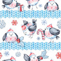 Watercolor seamless greeting pattern with cute flying birds and knitted borders. New Year. Celebration illustration