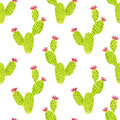 Watercolor seamless opuntia cactus pattern. Hand paint background. Can be used for wrapping paper and fabric design.
